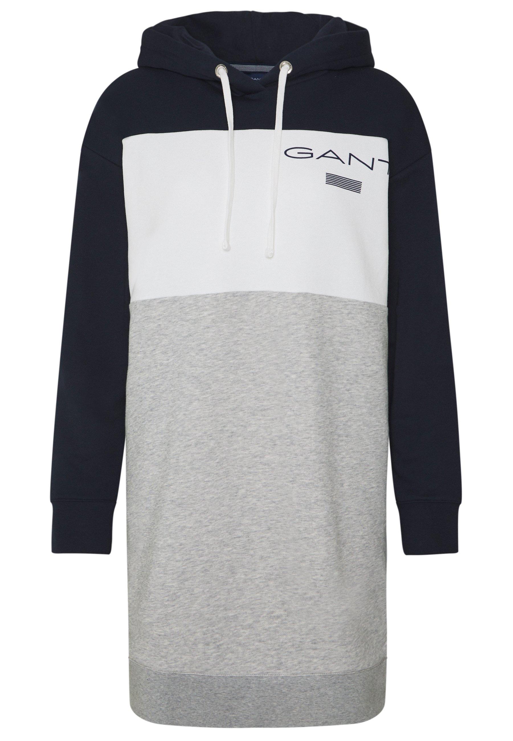 Gant Stripe Hoodie Dress - Vardagsklänning Evening Blue