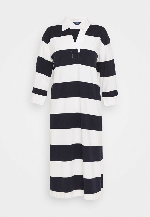 FEMININE STRIPED RUGGER DRESS - Vestido de tubo - evening blue