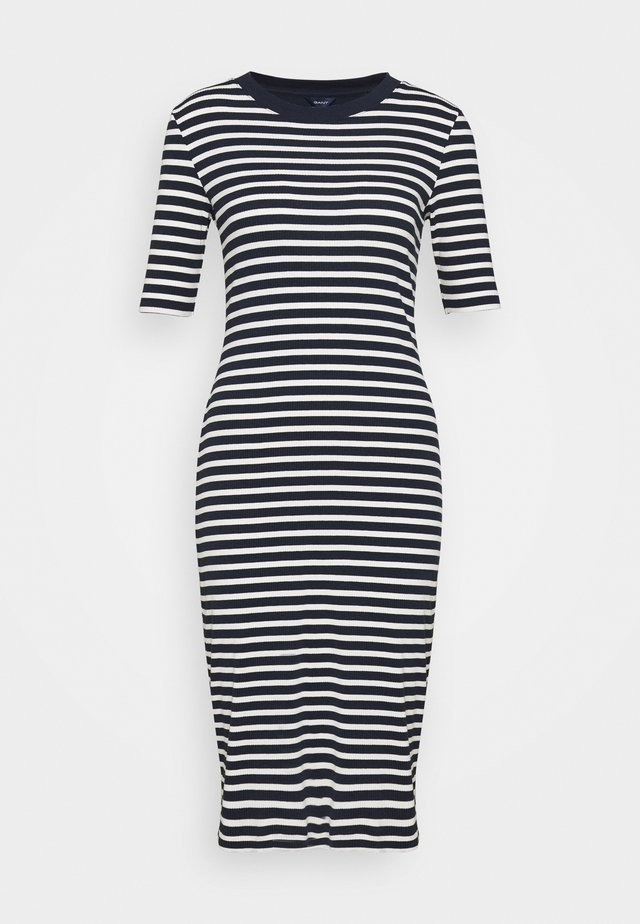 STRIPED DRESS - Vestido informal - evening blue