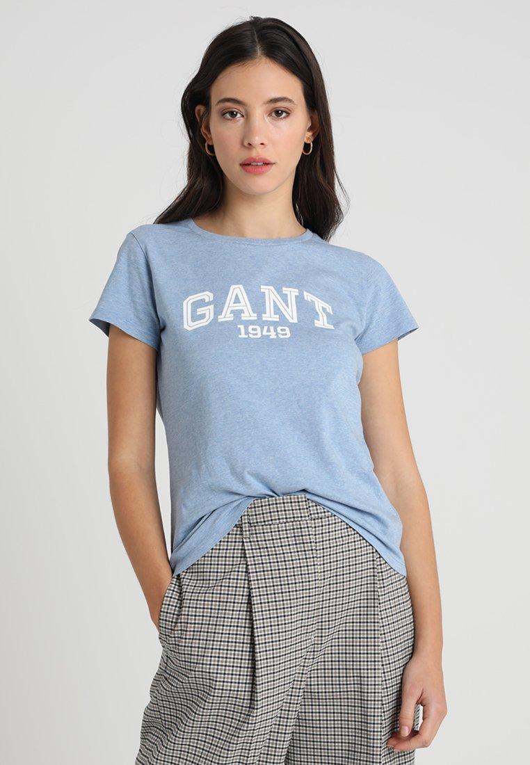GANT - LOGO  - T-Shirt print - light blue melange