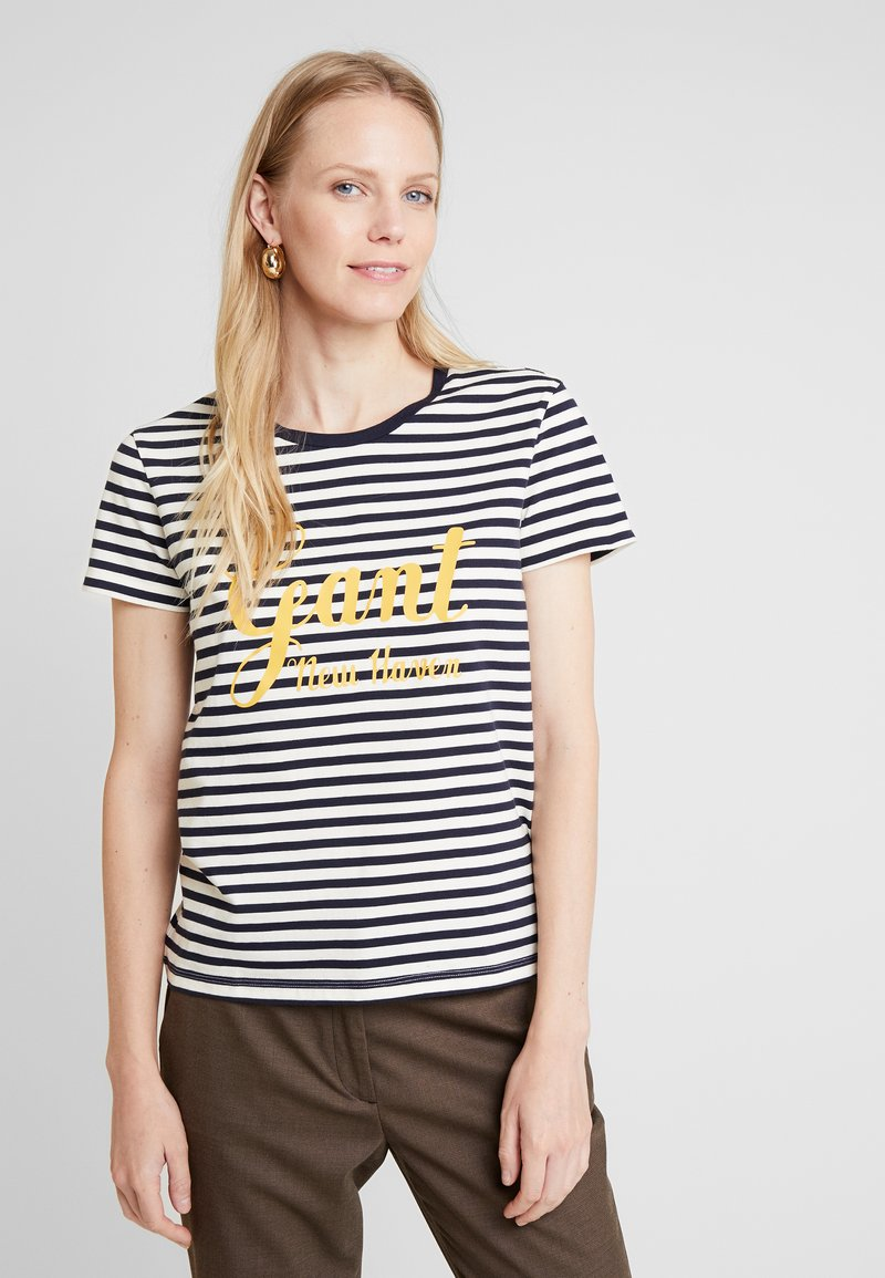 GANT - STRIPE GRAPHIC - Camiseta estampada - evening blue