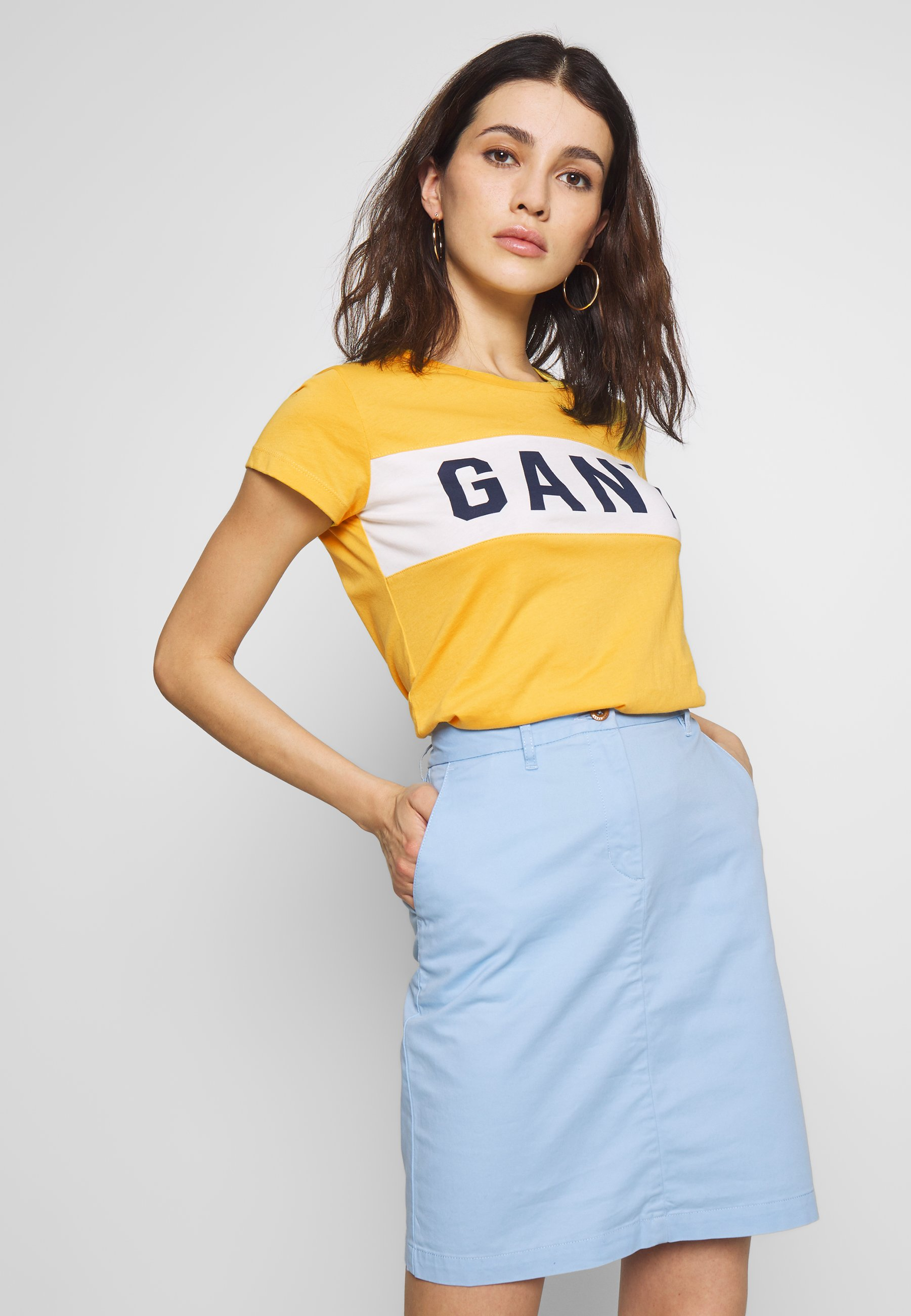 GANT MD. THE SUMMER LOGO SS T-SHIRT - T-shirt con stampa - mimosa yellow