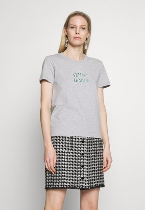 FEMME LEAGUE - Print T-shirt - light grey melange
