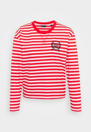 CREST STRIPED TEE - Long sleeved top - lava red