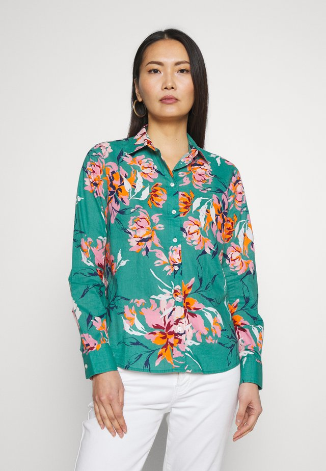 D1. PEONIES COTTON VOILE SHIRT - Button-down blouse - jade green