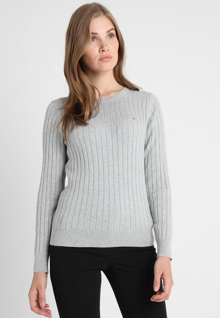 GANT - CREW - Strickpullover - light grey melange