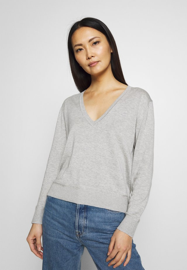 LIGHT V NECK - Jersey de punto - light grey melange