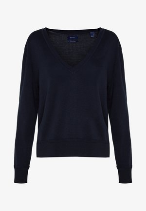 LIGHT V NECK - Strikkegenser - evening blue