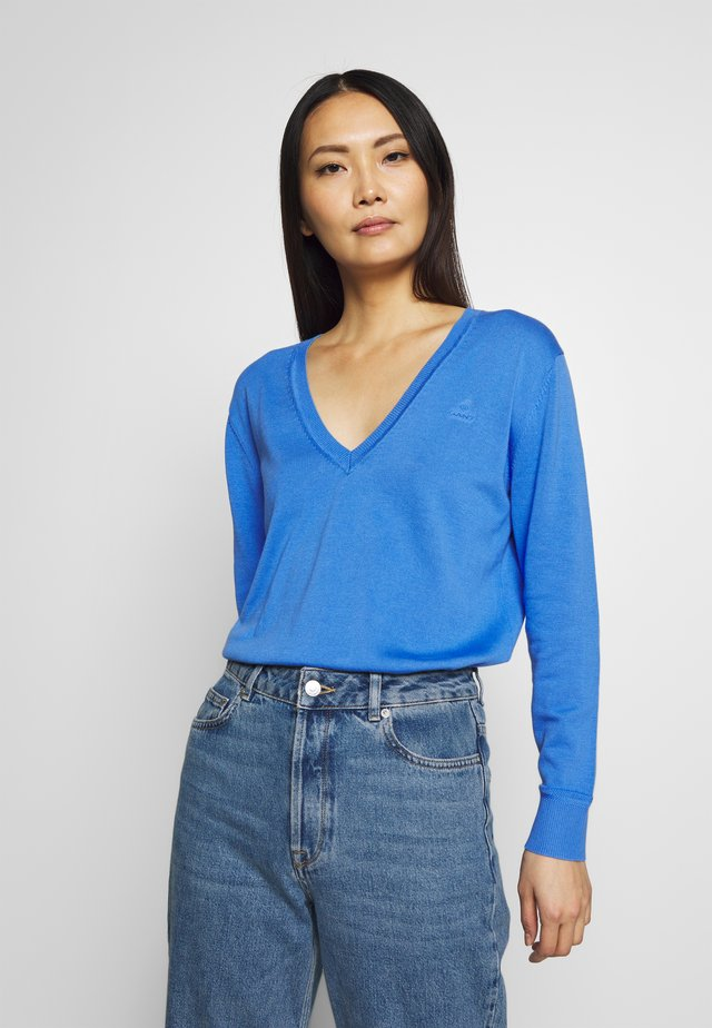 LIGHT COTTON V NECK - Jersey de punto - pacific blue