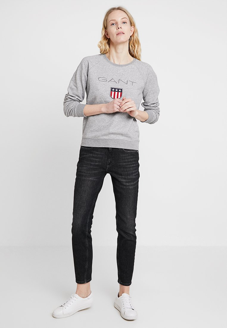 GANT SHIELD LOGO C NECK - Bluza - grey melange