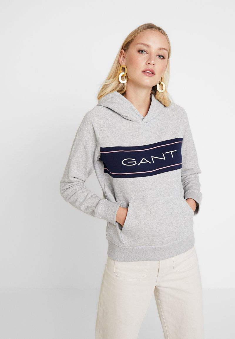 GANT - ARCHIVE HOODIE - Hoodie - grey melange