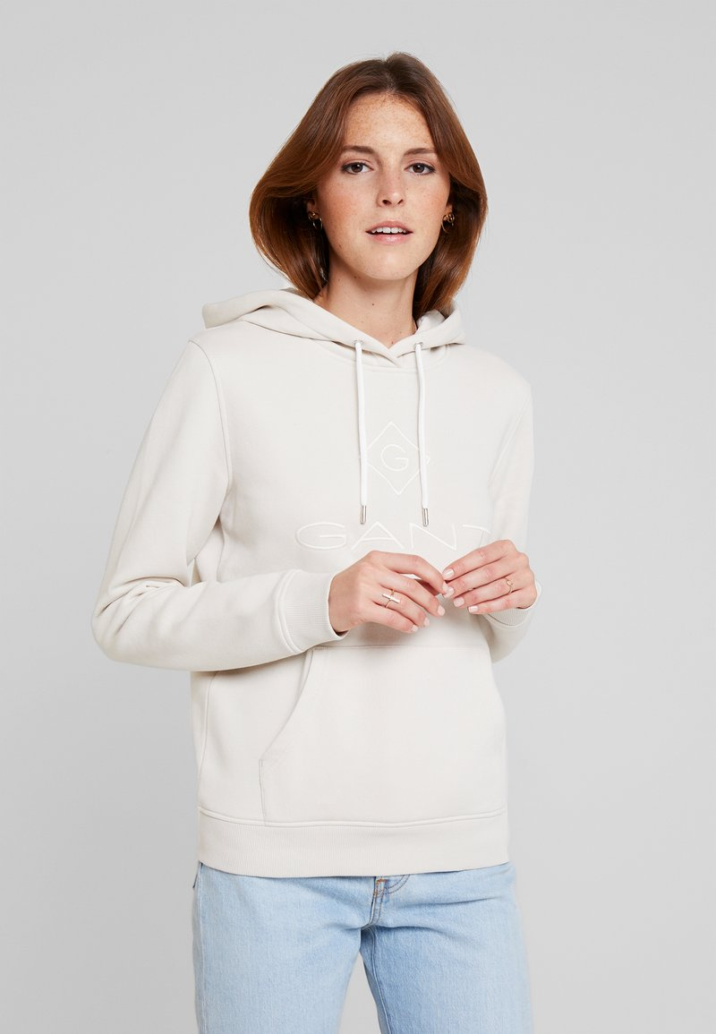 GANT - LOCK UP HOODIE - Felpa con cappuccio - putty
