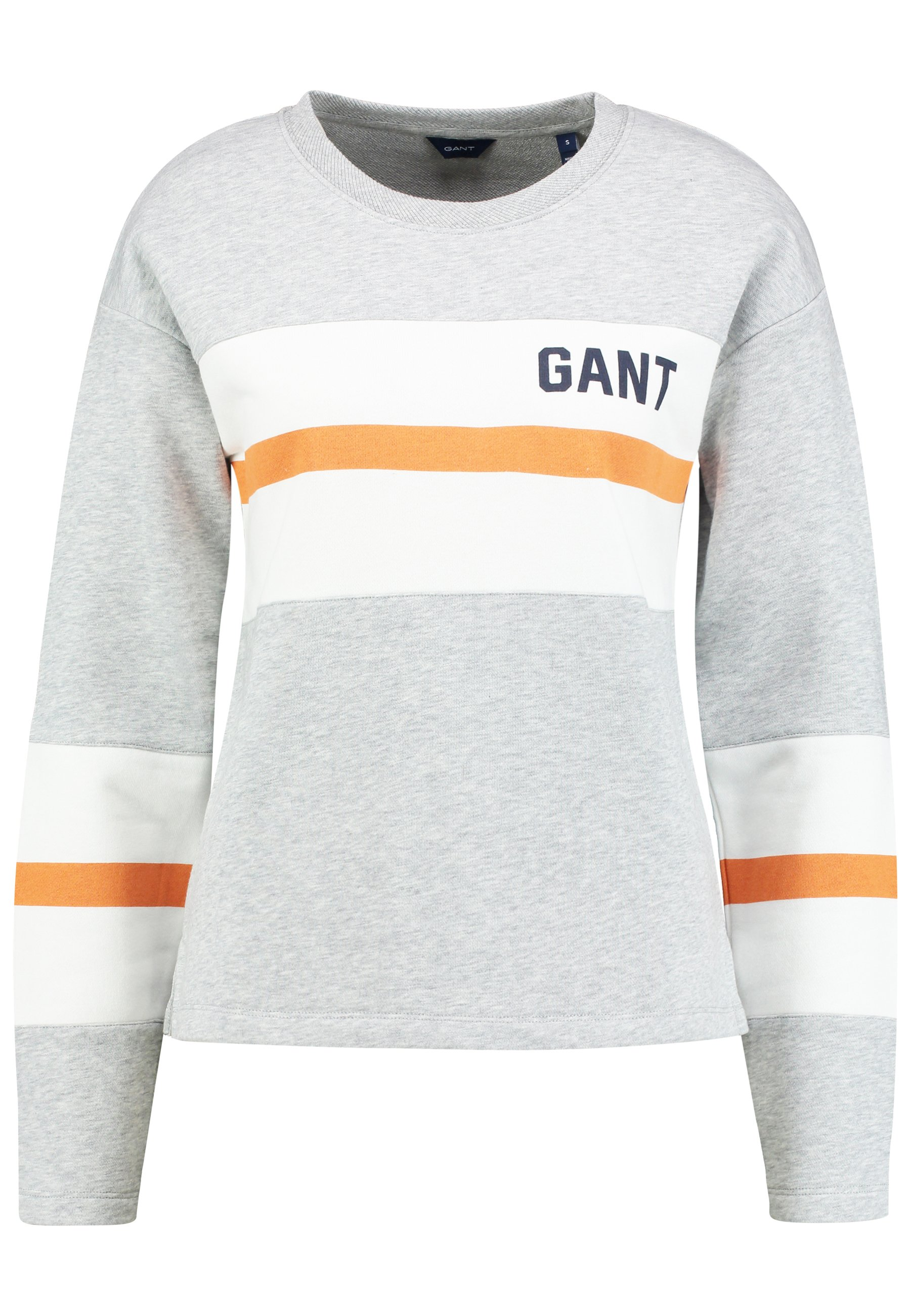 GANT GRAPHIC BLOCK STRIPE C-NECK - Bluza - light grey melange