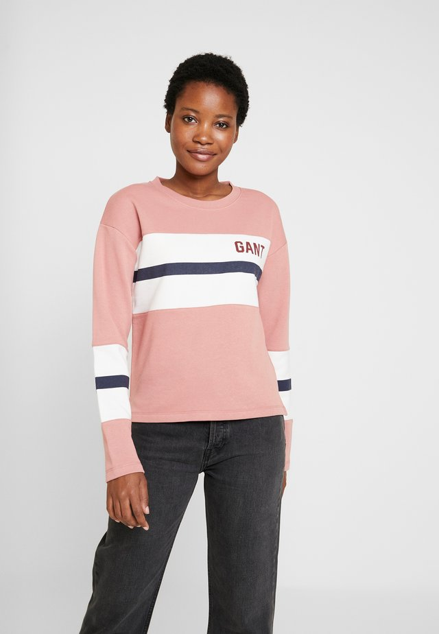 GRAPHIC BLOCK STRIPE C-NECK - Sudadera - ash rose