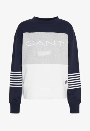 STRIPE NECK - Sweater - evening blue
