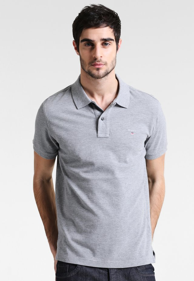 SOLID RUGGER - Polo - grey melange