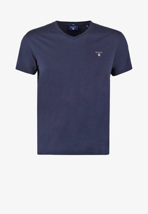 SOLID FITTED V NECK - Basic T-shirt - evening blue