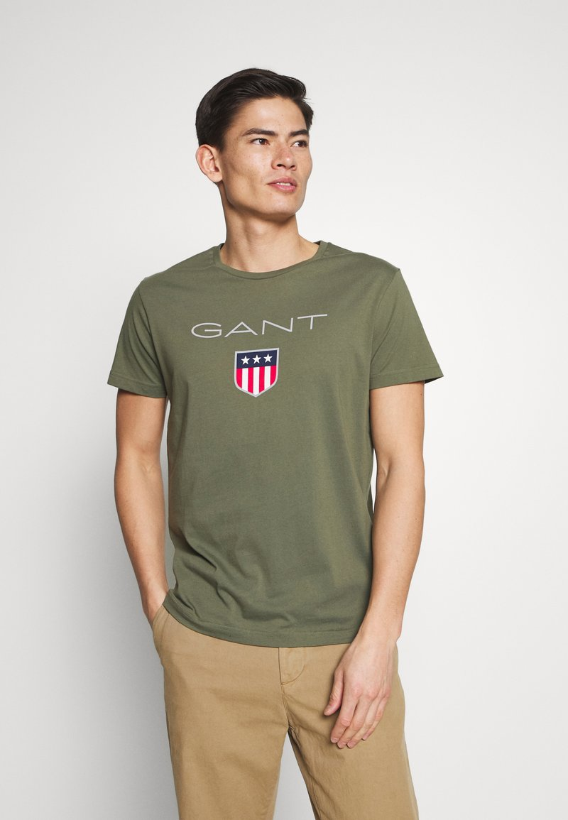 GANT - SHIELD - Camiseta estampada - olive