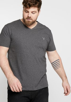THE ORIGINAL SLIM V NECK  - T-shirt print - anthracit