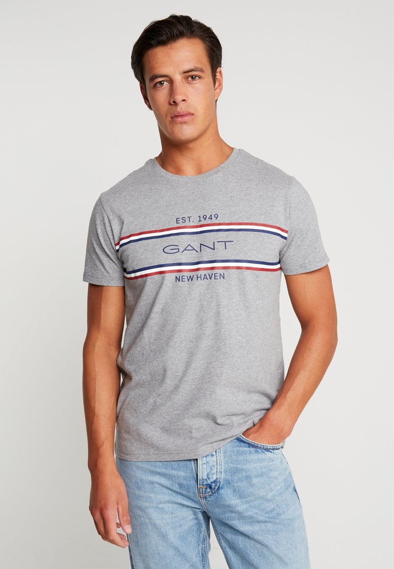GANT - STRIPE  - T-Shirt print - grey melange