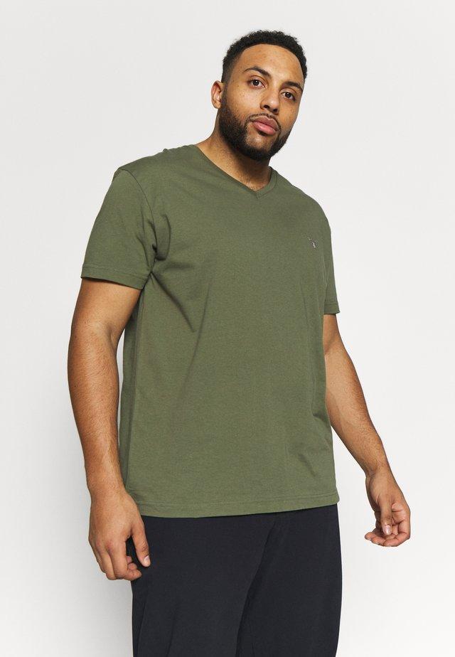 PLUS THE ORIGINAL SLIM V-NECK - T-shirt - bas - olive
