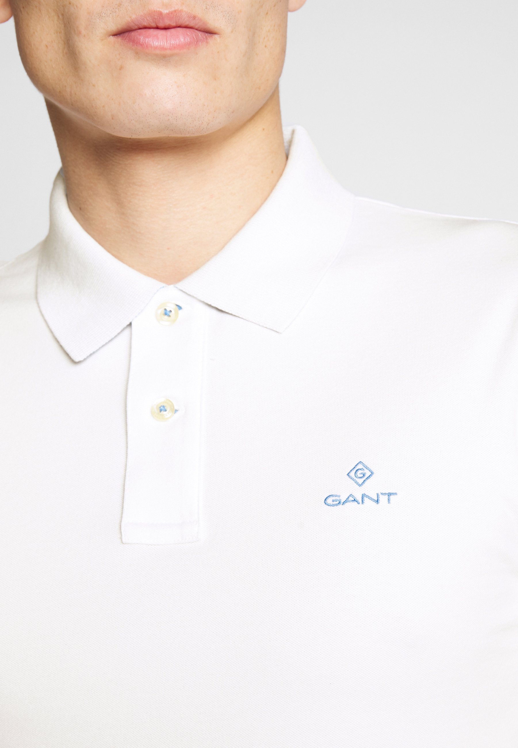 GANT CONTRAST COLLAR RUGGER - Polo - eggshell