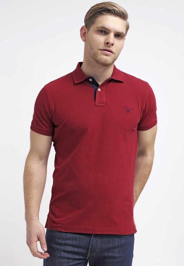 GANT - CONTRAST COLLAR RUGGER - Polo - mahagony red