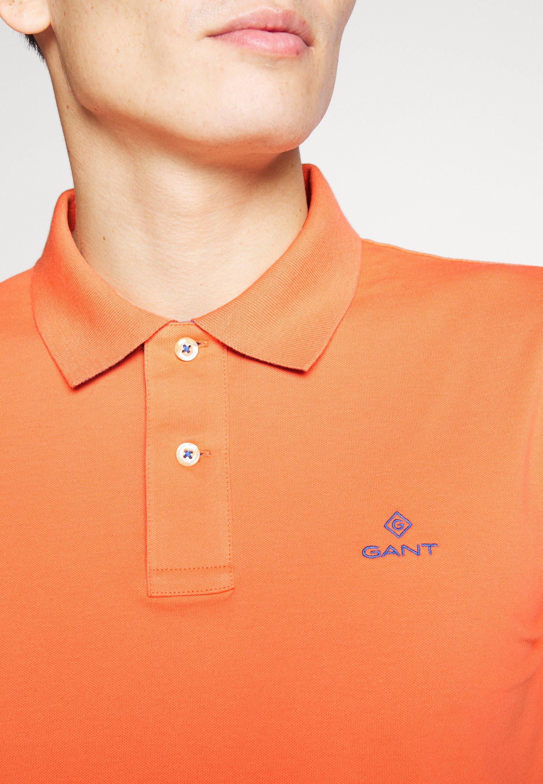 Gant Contrast Collar Rugger - Polo Coral Orange IU5LZvi