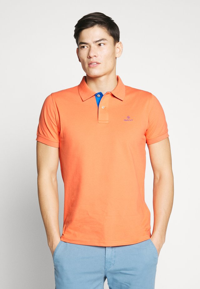 CONTRAST COLLAR RUGGER - Poloshirt - coral orange