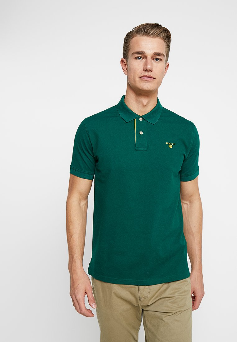 GANT - CONTRAST COLLAR RUGGER - Polo shirt - pine green