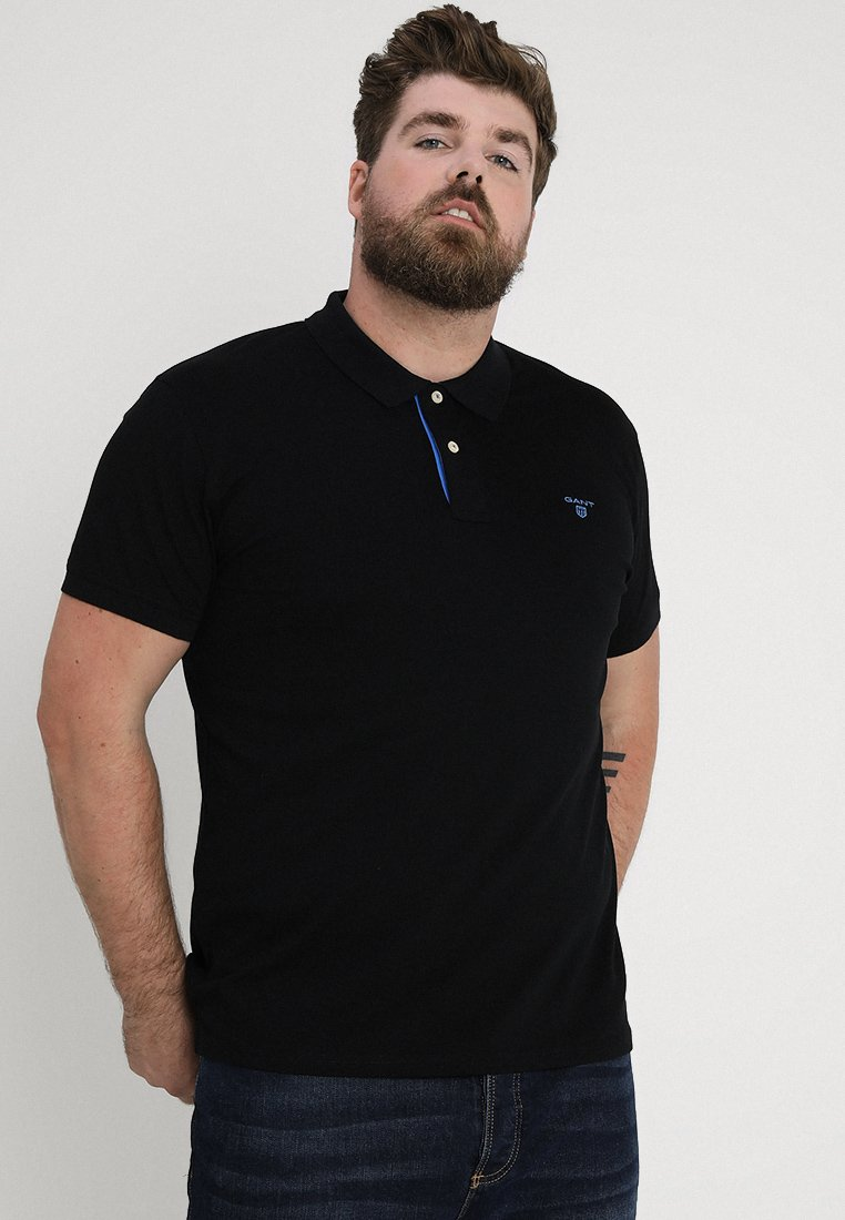 GANT - CONTRAST COLLAR RUGGER - Poloshirt - black/royal