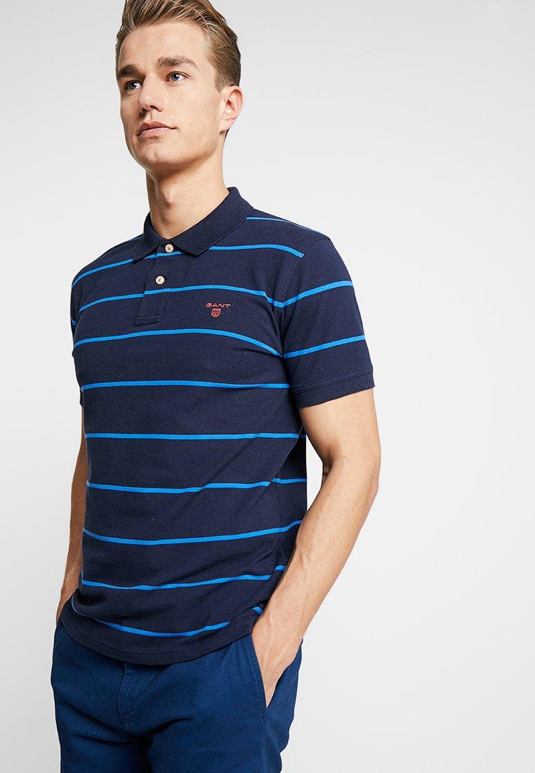GANT - CONTRAST STRIPE RUGGER - Poloshirt - evening blue