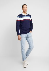 GANT - STRIPED CHEST HEAVY RUGGER - Polo - evening blue - 1