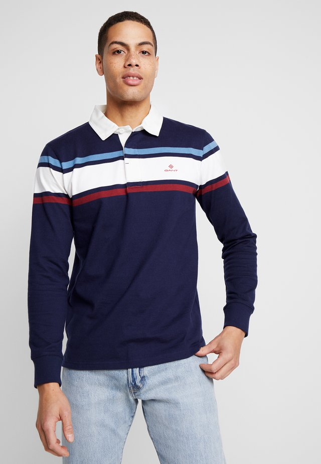 STRIPED CHEST HEAVY RUGGER - Polo shirt - evening blue