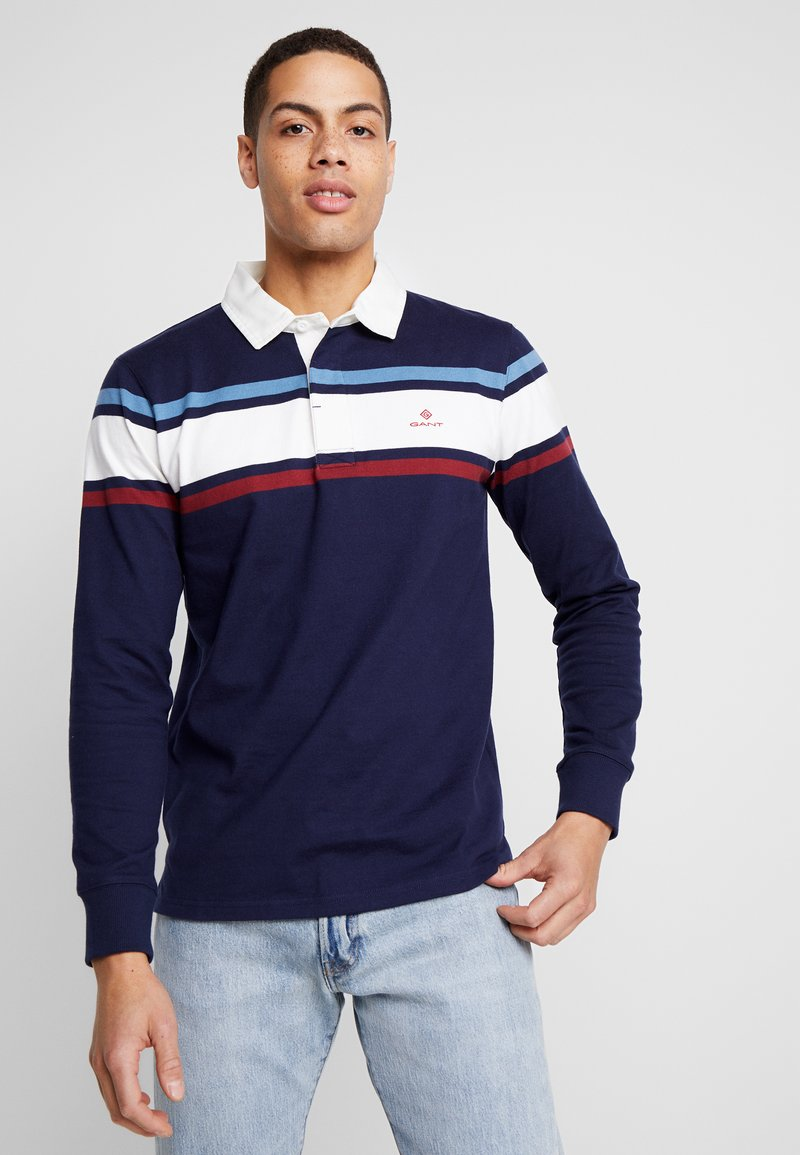 GANT - STRIPED CHEST HEAVY RUGGER - Polo - evening blue