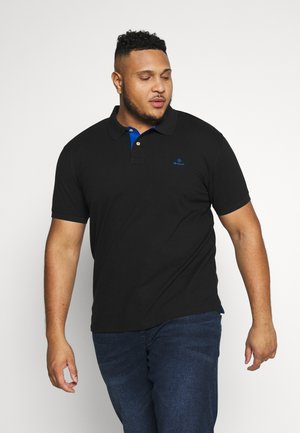PLUS CONTRAST COLLAR RUGGER - Polo - black