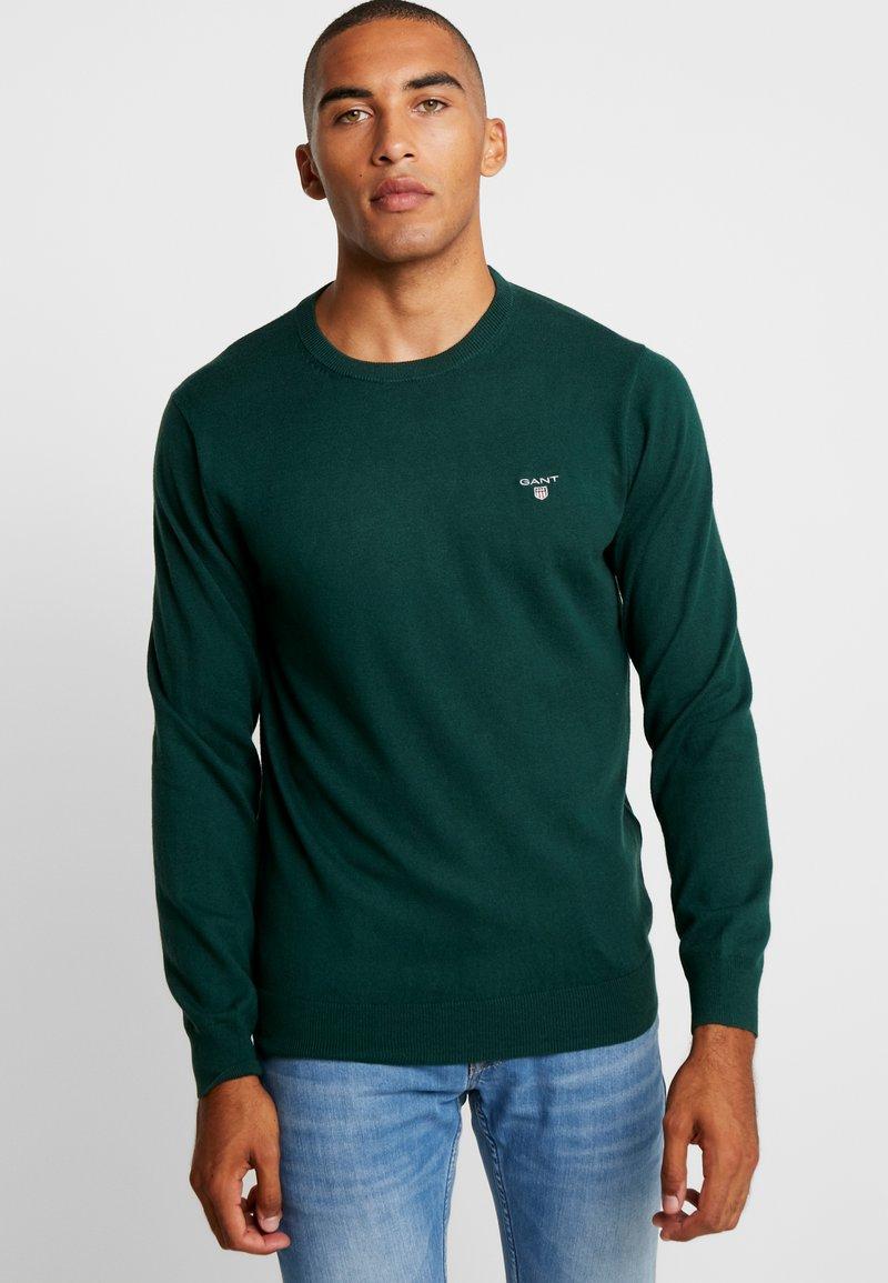 GANT - CREW - Strikkegenser - tartan green