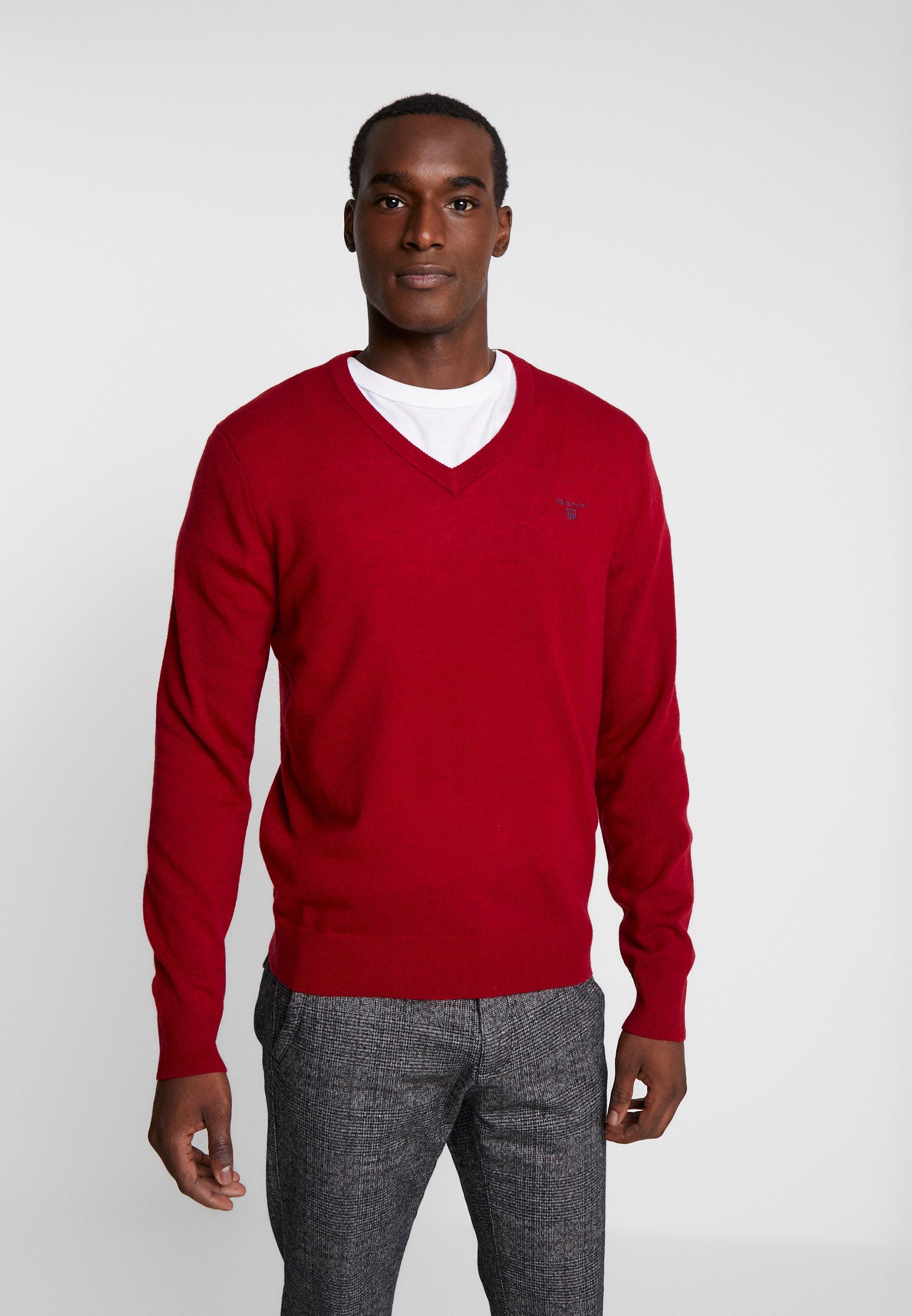 GANT EXTRAFINE VNECK - Sweter - red