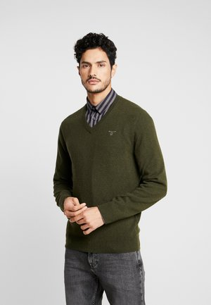 EXTRAFINE VNECK - Pullover - field green
