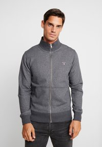 GANT - THE ORIGINAL FULL ZIP CARDIGAN - Felpa aperta - antracit melange - 0