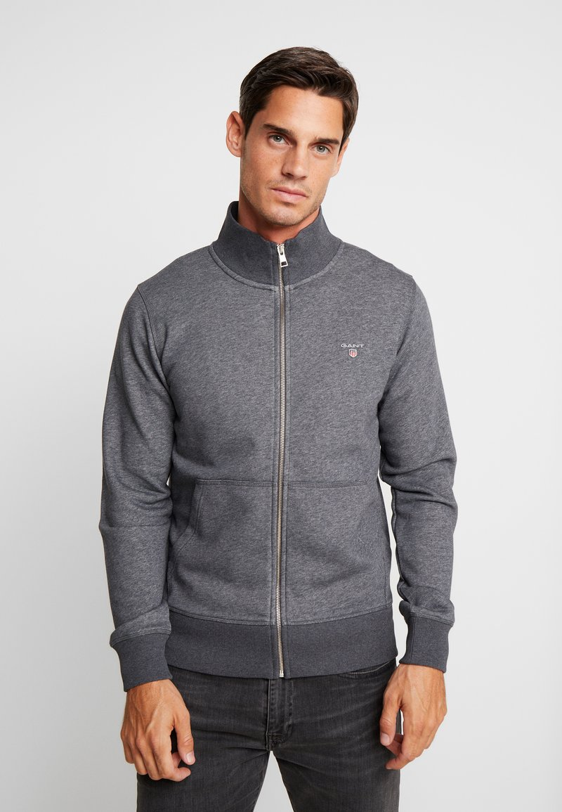GANT - THE ORIGINAL FULL ZIP CARDIGAN - Felpa aperta - antracit melange