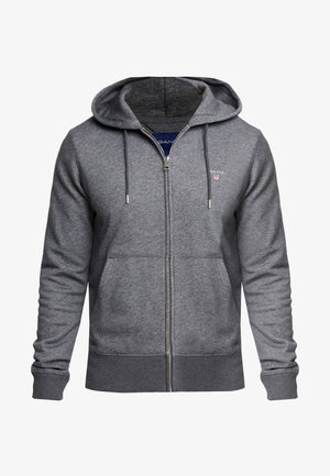 THE ORIGINAL FULL ZIP HOODIE - Felpa aperta - antracit melange