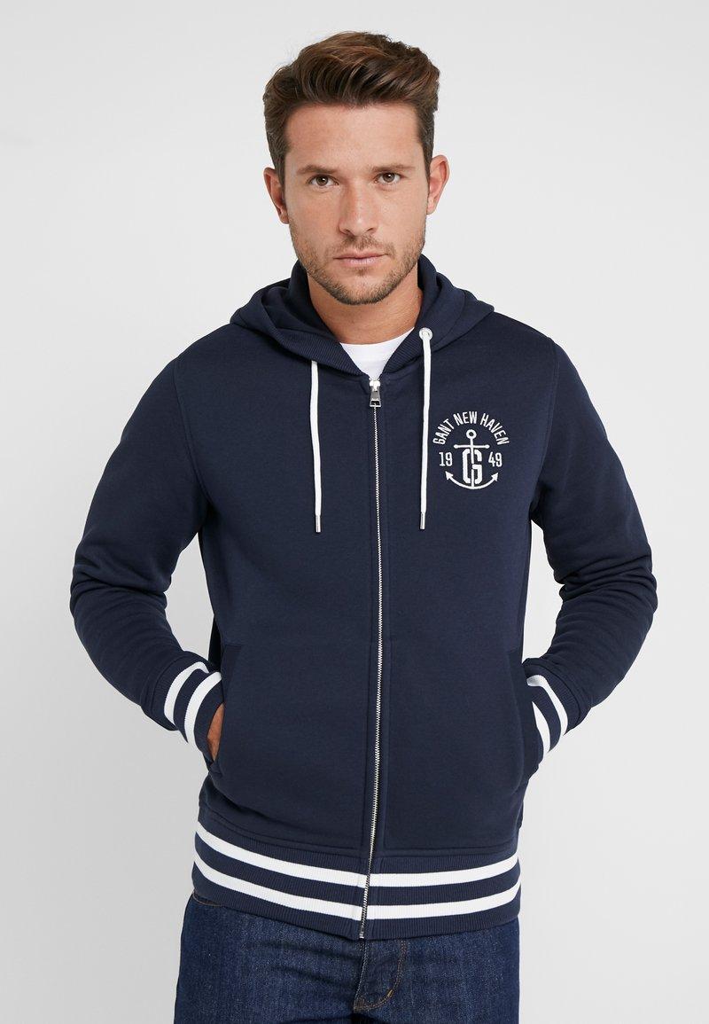 GANT - ANCHOR FULL ZIP HOODIE - veste en sweat zippée - evening blue