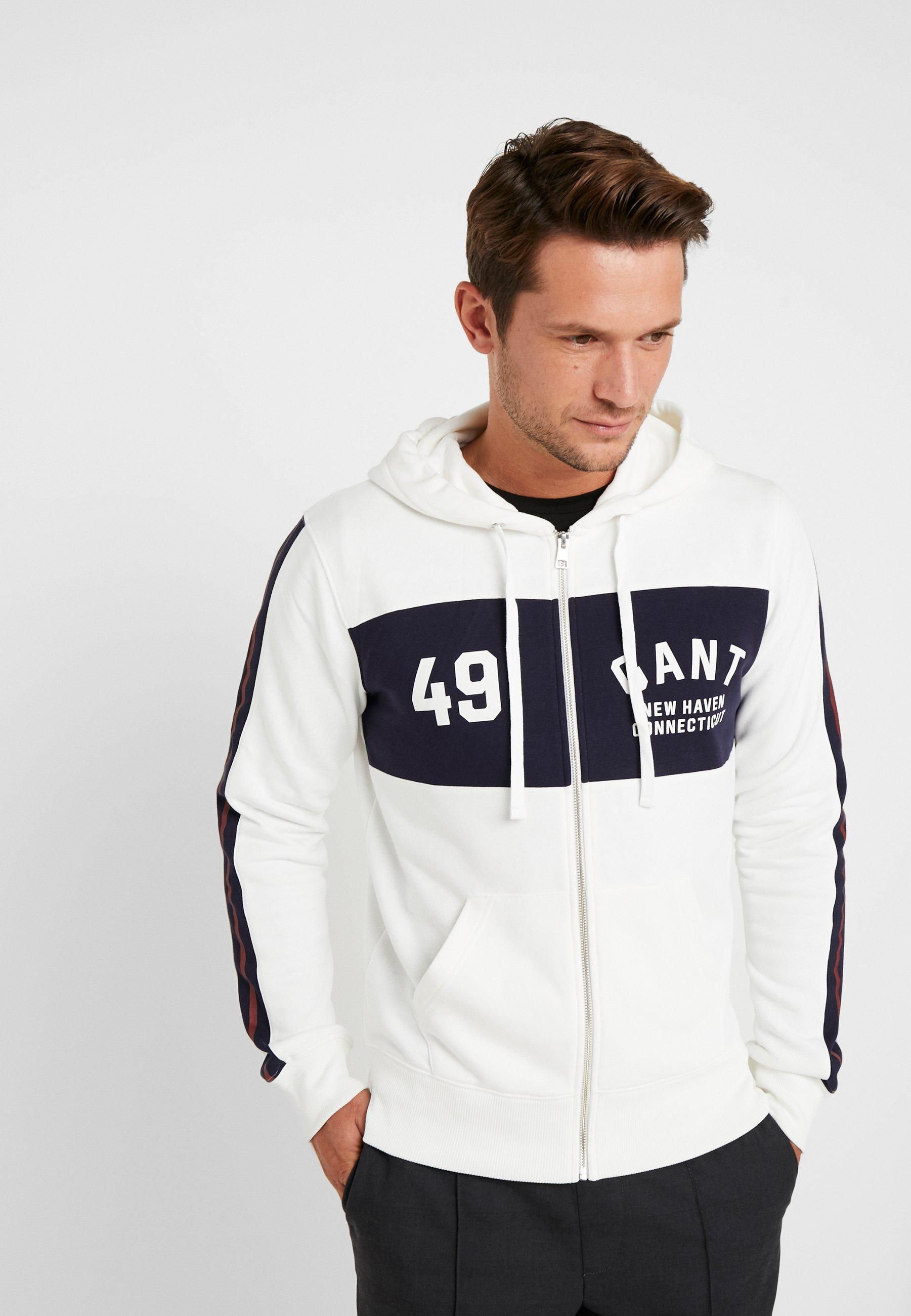 Gant Logo Hoodie - Veste En Sweat Zippée Eggshell