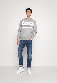 GANT - STRIPE C-NECK - Sweatshirt - grey melange - 1