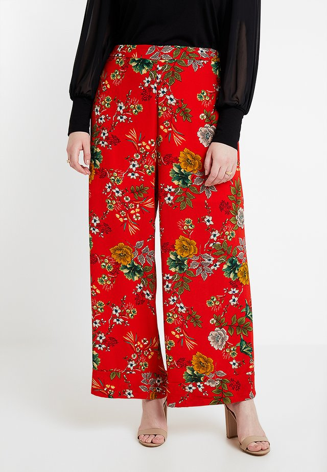 FLORAL PRINT WIDE LEG TROUSER - Trousers - red