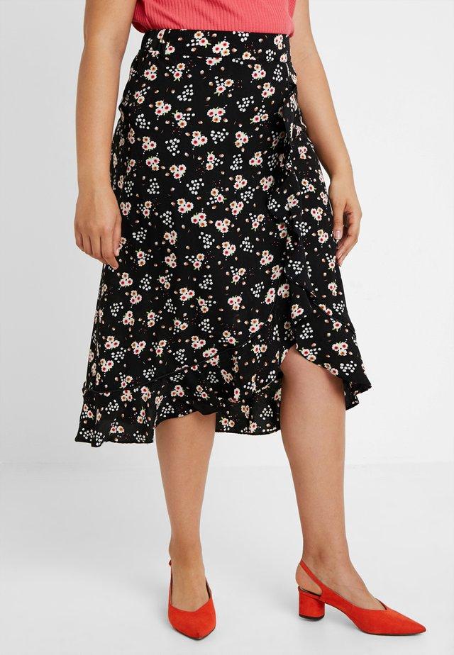 FLORAL PRINT WRAP SKIRT - Áčková sukně - black