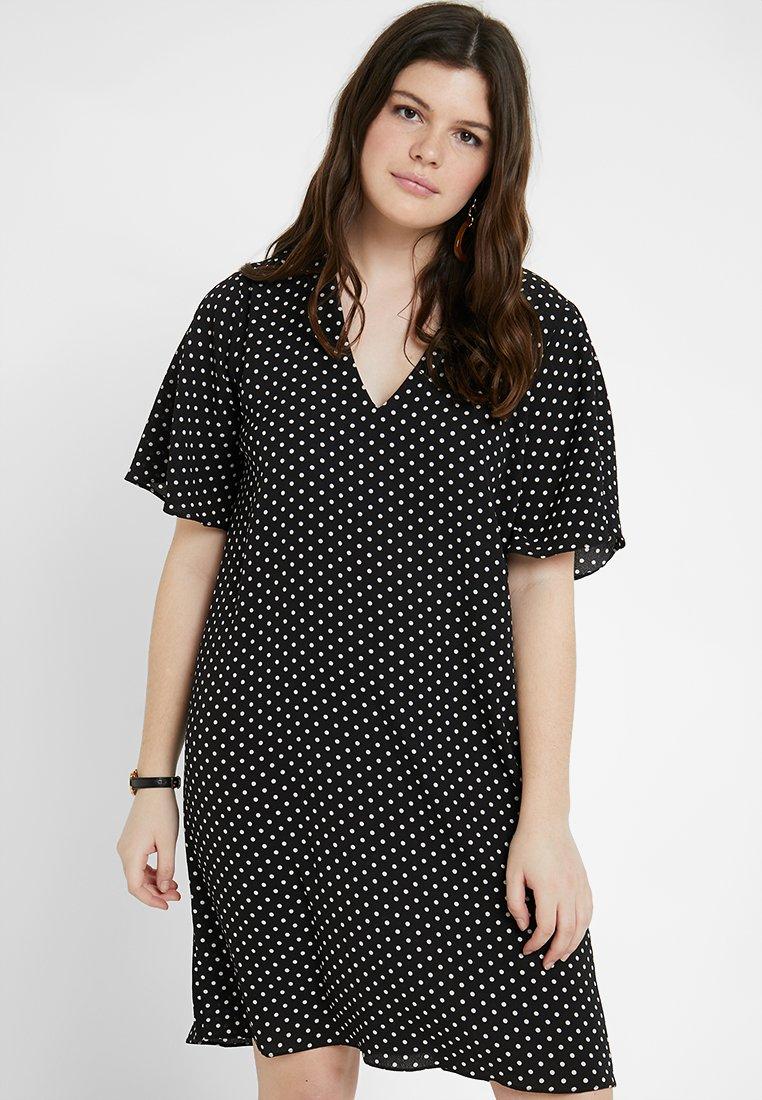 Gabrielle by Molly Bracken - SPOT PRINT V-NECK SHIFT DRESS - Denní šaty - black