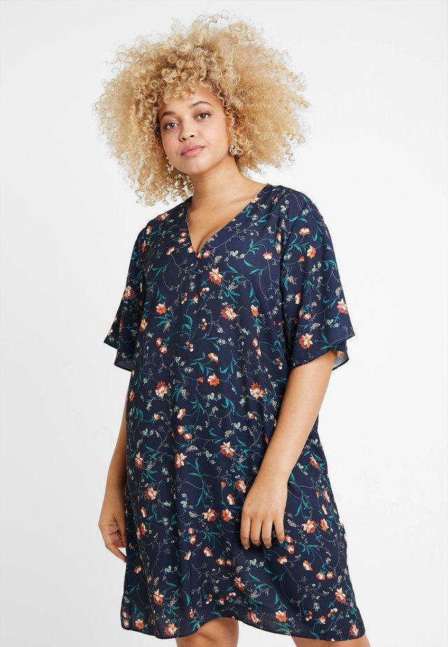 FLORAL PRINT V NECK SHIFT DRESS - Day dress - navy blue