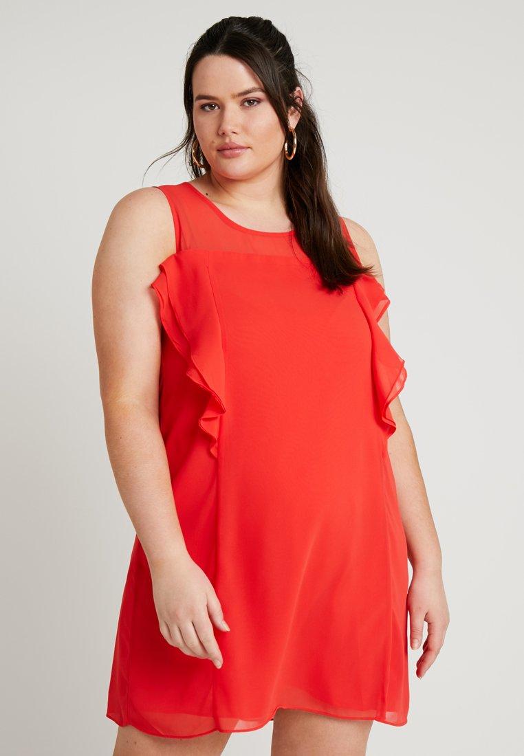 Gabrielle by Molly Bracken - RUFFLE DETAIL SHIFT DRESS - Cocktailkjole - red/coral